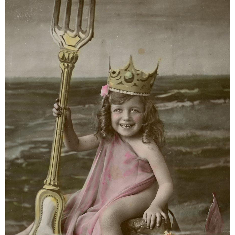 Humorous French Postcard Collage of Child with Fork as Neptune