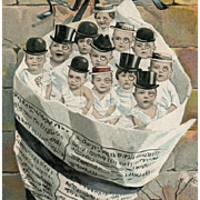 Multiple Babies in Newspaper Cone Wearing Top Hats and Monocles Antique European Postcard