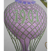 1907 Happy New Year Lavender Embossed Hot Air Balloon French Postcard