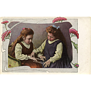 Two Edwardian Girls Playing Cat's Cradle String Game Antique European Postcard