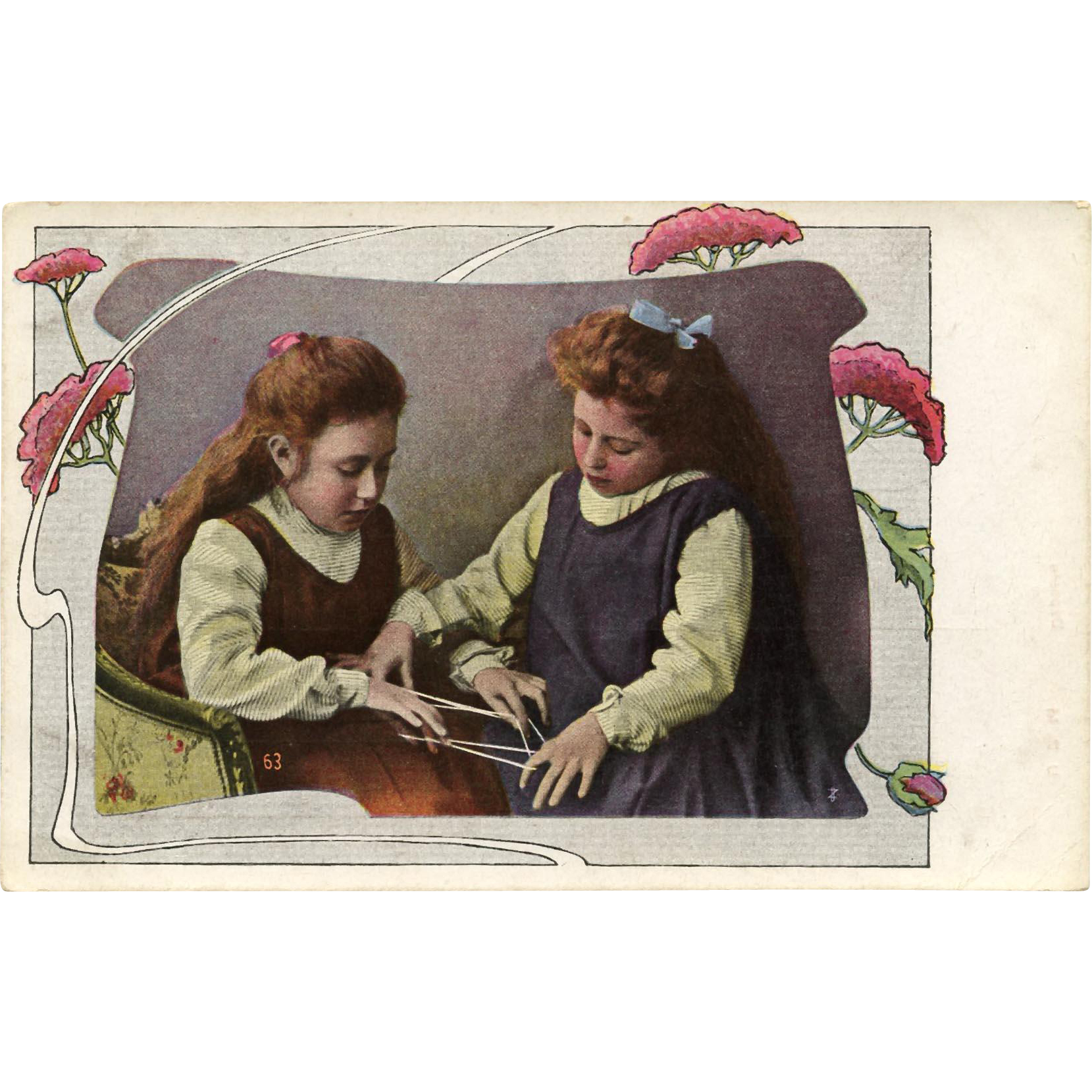 Two Edwardian Girls Playing Cat's Cradle String Game Antique European Postcard