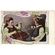 Cat's Cradle Two Edwardian Girls Playing String Game Unused Antique German Postcard