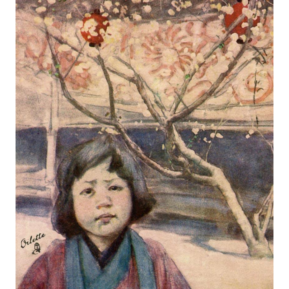 Fair Japan Tuck's Postcard Child in Plum Kimono by Mortimer Menpes