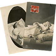 Two Post-mortem Real Photo French Postcards of Edwardian Toddlers