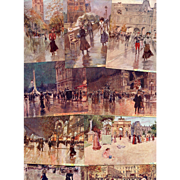 Paris Scenes and Iconic Landmarks by Impressionist Artist Georges Stein 17 Antique French Postcards