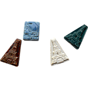 Four 1989 Porcelain Féves Lucky Charms for Epiphany King's Cake: Eiffel Tower and Marianne