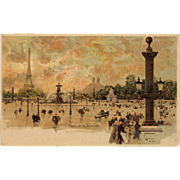 Paris Scene Eiffel Tower Place de Concorde by Luigi Loir Pre-1904 French Postcard
