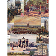 Ten Raphael Tuck's Postcards: Oilette Series, Iconic Paris Sites, Eiffel Tower