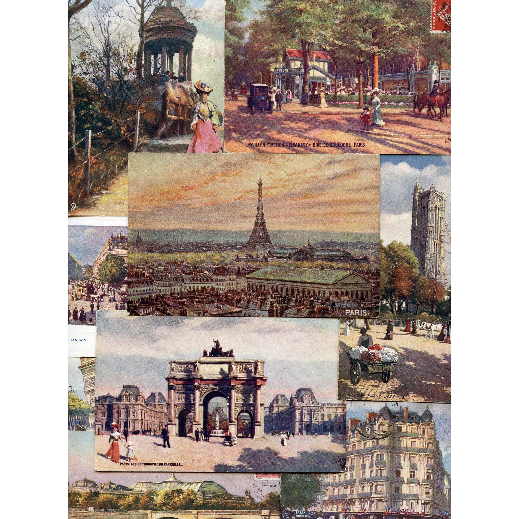 Ten Raphael Tuck's Postcards: Oilette Series, Iconic Paris Sites, Eiffel Tower