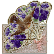 Antique Novelty Mechanical Postcard Unfolds into Fan of a Bird Amid Violets
