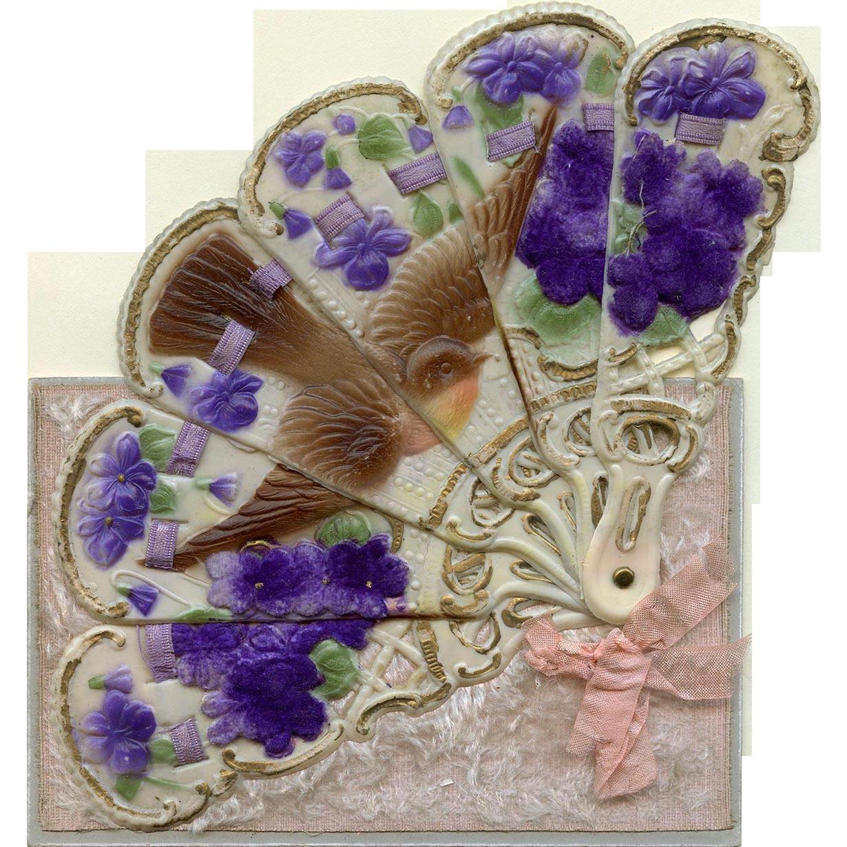 Antique Novelty Mechanical Postcard Unfolds into Fan of a Bird Amid Violets