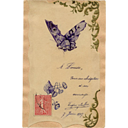 Eugène Sieffert Hand-made French Postcard Pen and Ink Butterfly and Morning Glories Dated 1907