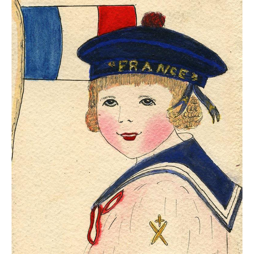 Boy in Sailor Costume France Beret Hand-Painted Antique Postcard