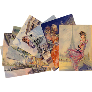 c1955 Paris Mode and Monuments Fashion Complete Series of 8 Vintage Unused French Postcards Éditions d'Art by Yvon