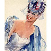 """1950s French Fashion Beauty in Blue """"Parisienne"""" Postcard by Vincente Cristellys"""