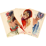 "c1950s Three ""Parisienne"" Fashion Postcards by Vincente Cristellys"