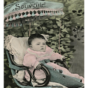 Baby in Edwardian Buggy Antique French Souvenir Postcard