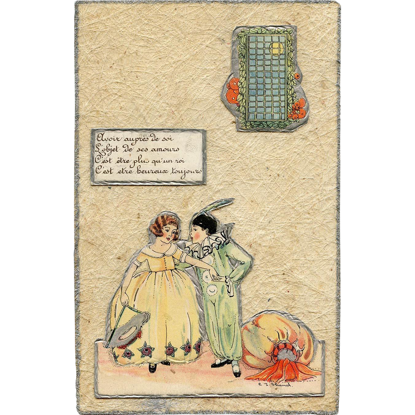 Hand-made French Love Note Created from C.E. Shand Postcard