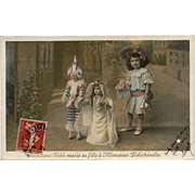French Fantasy Postcard Marriage of Doll to Monsieur Polichinelle Franked 1907 - Red Tag Sale Item