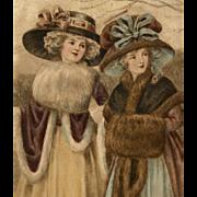 Two Women in Winter Fashions European Chromolithograph Postcard 1918