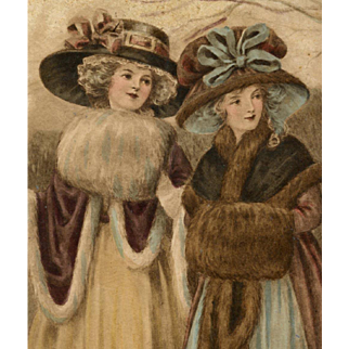 Two Women in Winter Fashions European Chromolithograph Postcard 1918