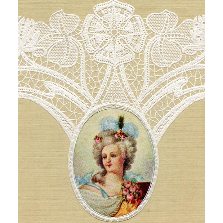 Lace Embossed Antique Postcard with Medallion of Marquise c 1903