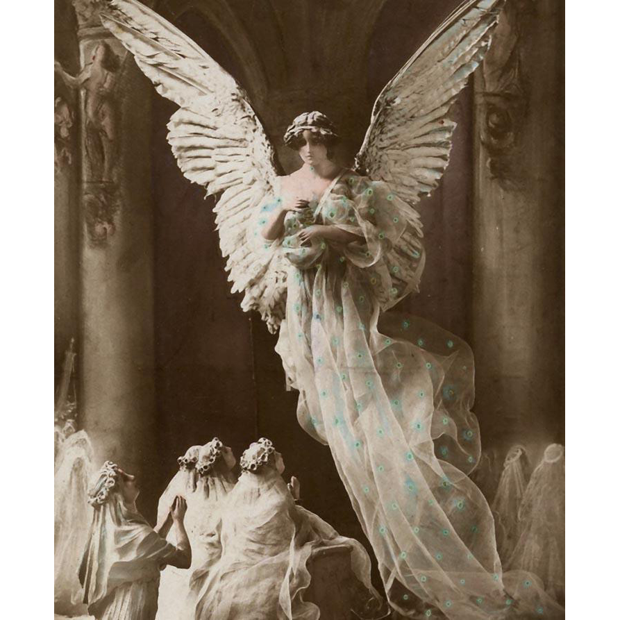 Souvenir of First Communion Angel and Supplicants Sculptochrome Postcard