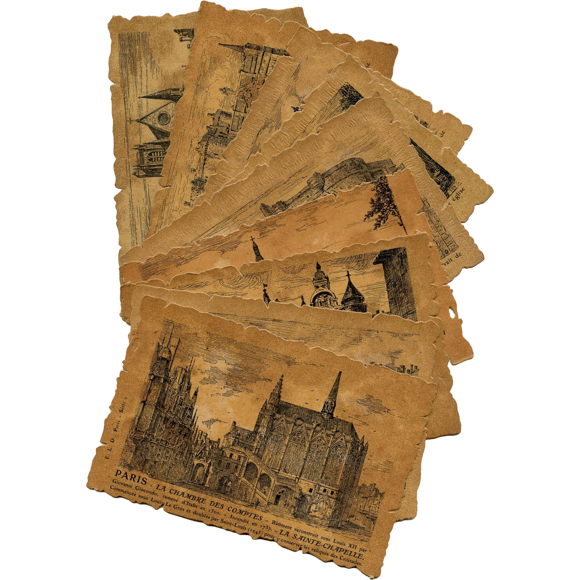 9 Die-Cut Postcards with Pen and Ink Drawings of Old Paris in 16th and 17th Century Unused