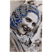 Art Deco French Postcard Customized with Silver and Blue Glitter