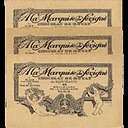 Marquise de Sévigné Paris Chocolates Advertising Card Art Nouveau with Cherubs