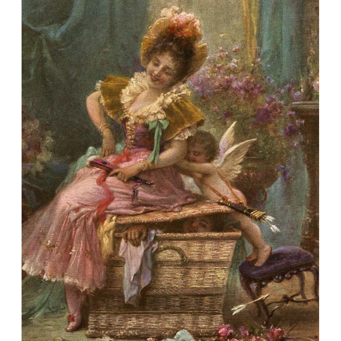 Cupid Pushing Lady off Huge Basket Zatzka French Art Postcard from Polish Count's Collection