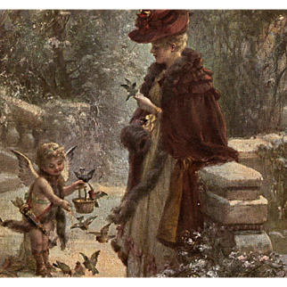 Cupid Feeding Birds with Edwardian Lady Artist Signed Zatzka French Postcard from Polish Count's Collection