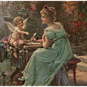 """Hans Zatzka """"Inspiration"""" Cupid Fantasy 1908 French Postcard from Polish Count's Collection"""