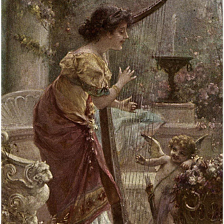 Neoclassical Woman Playing Harp with Cupid Antique Art Reproduction Postcard by Zatzka from Polish Count's Collection