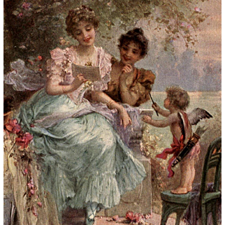 Love's Song by Hans Zatzka Chromolithograph Postcard Franked 1908 Paris France from Polish Count's Collection