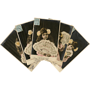 Real Photo Complete Series of Edwardian Girl with Huge Feather Fan 5 Antique French Postcards from 1904