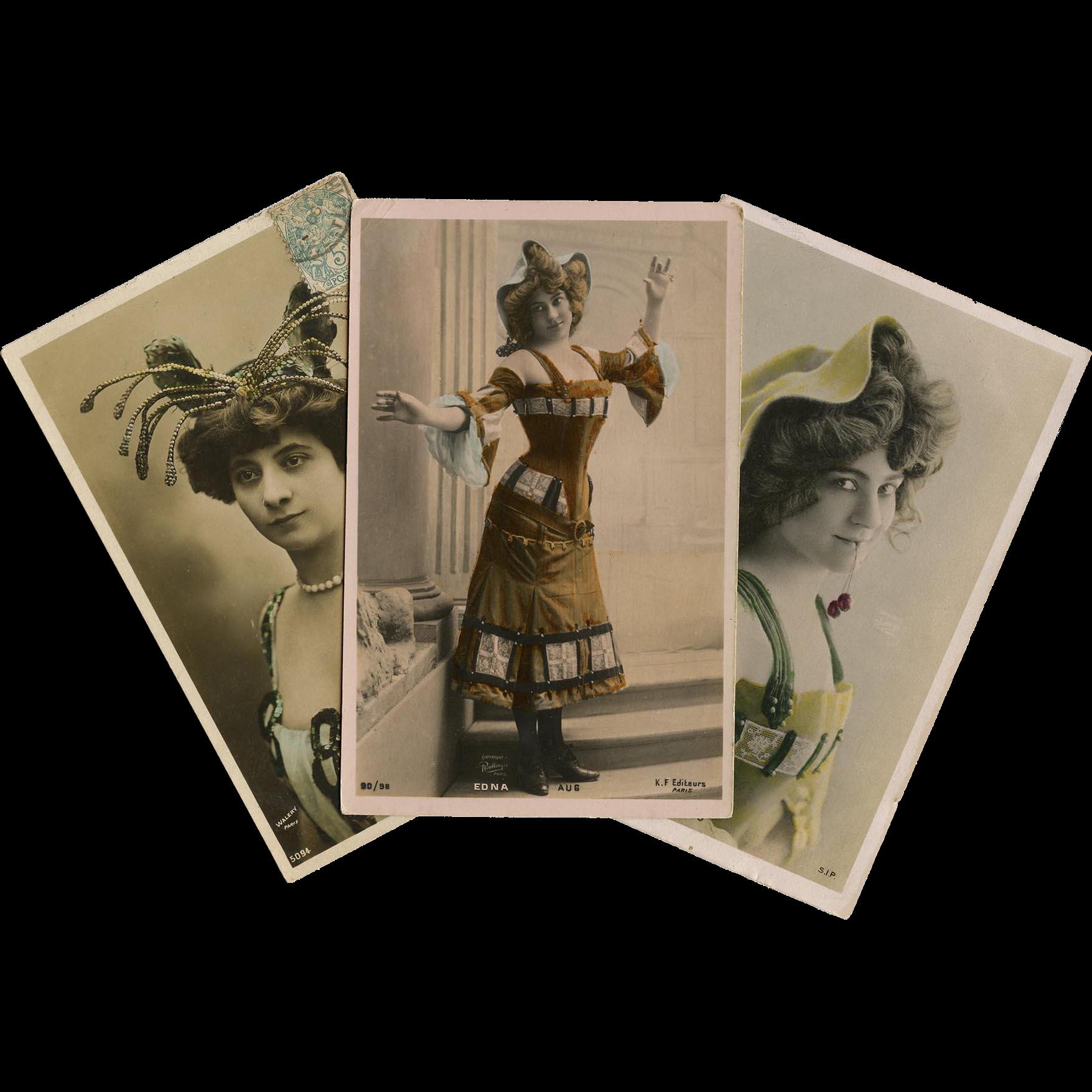3 Belle Epoque Actress Real Photo Postcards Reutlinger and Walery of Paris