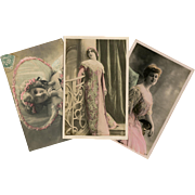 Three Belle Epoque Celebrities in Pink Hand Painted Antique Photo Postcards c1905
