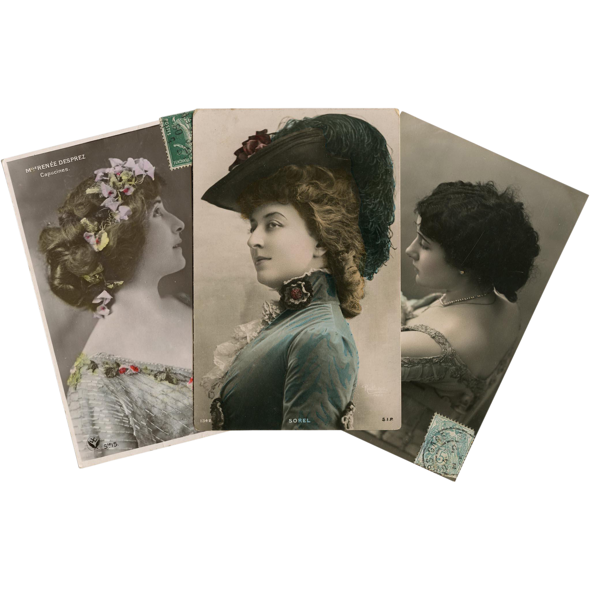 Trio of Belle Epoque Actresses Antique French Photo Postcards Painted by Hand