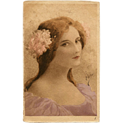 Original Antique Watercolor on Postcard 1902 Belgium