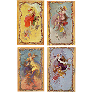 Art Nouveau Jules Cheret Four Seasons Tapestry Designs for Gobelins Unused Postcards