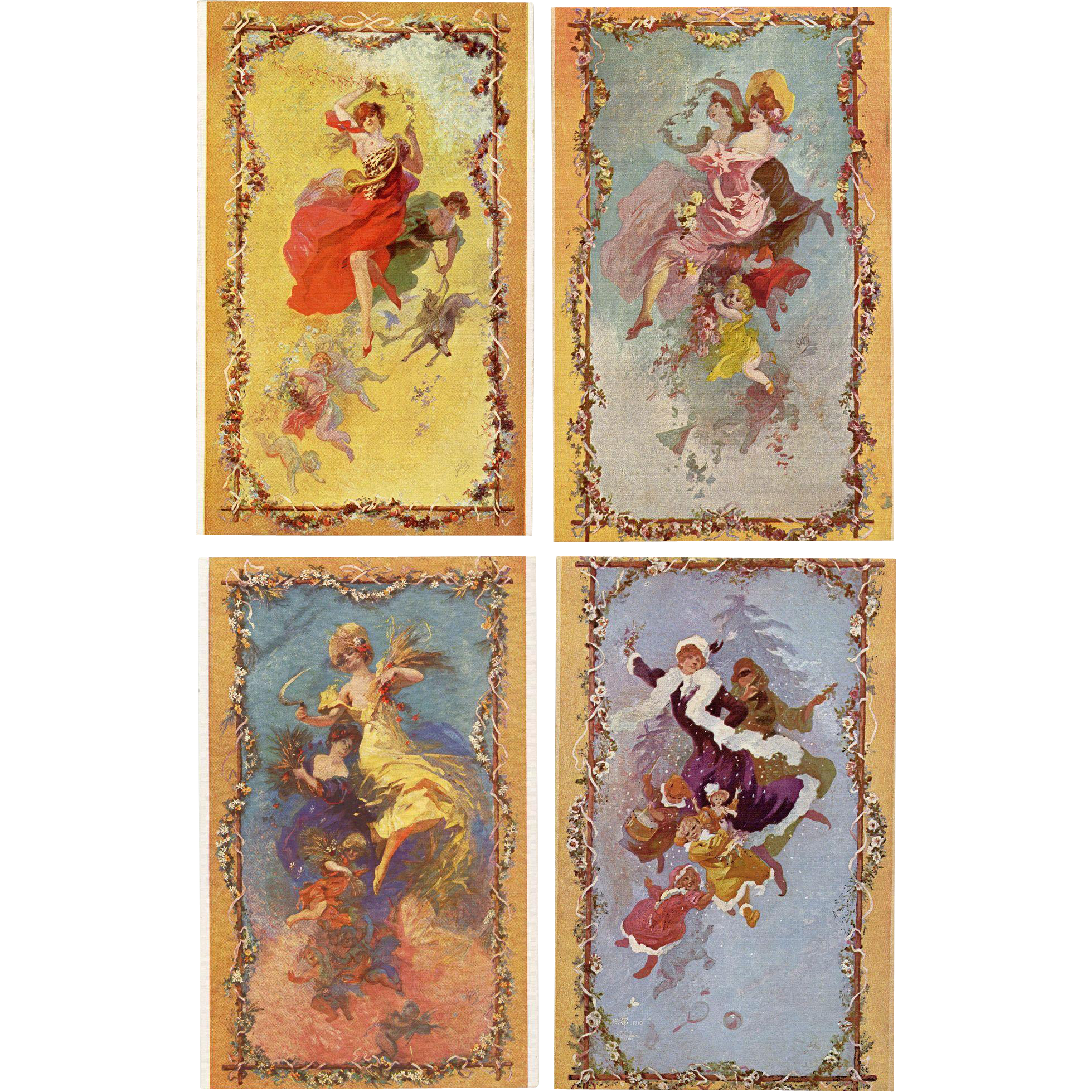 Art Nouveau Jules Cheret Four Seasons Tapestry Designs for Gobelins Unused Postcards