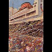 """Vintage NYK Line Japanese Ocean Liner Unused Embossed Postcard """"Bon Voyage"""" Streamers"""
