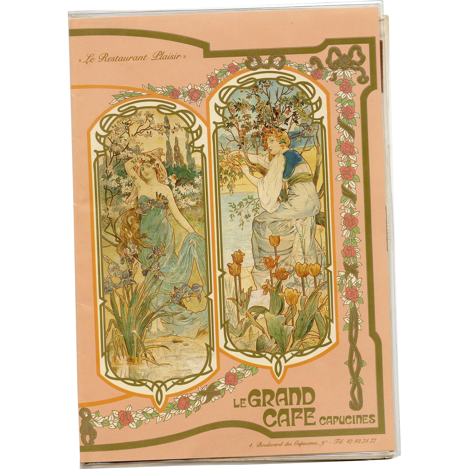 1988 Art Nouveau Menu from Iconic Paris Restaurant Le Grand Café Capucines