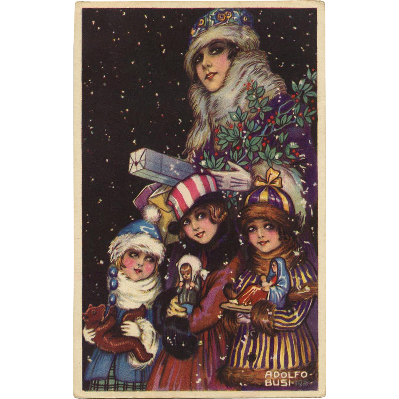 Family with Christmas Gifts and Toys Artist Signed Adolfo Busi Vintage Unused Postcard Near Mint