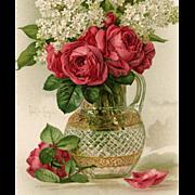 Paul de Longpre Roses and Lilacs Unused Antique Postcard c1903