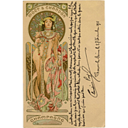 Alphonse Mucha Champagne Advertisement Color Lithograph with Gold Metallic Pigment