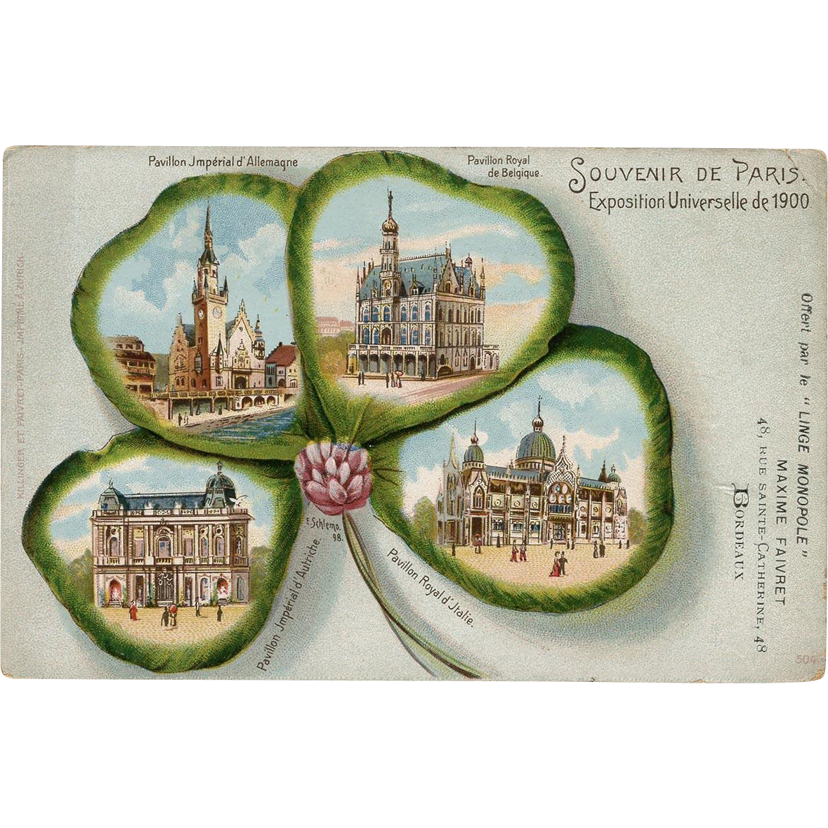 Four Leaf Clover Design of Paris 1900 Expo Pavillions Unused French Postcard