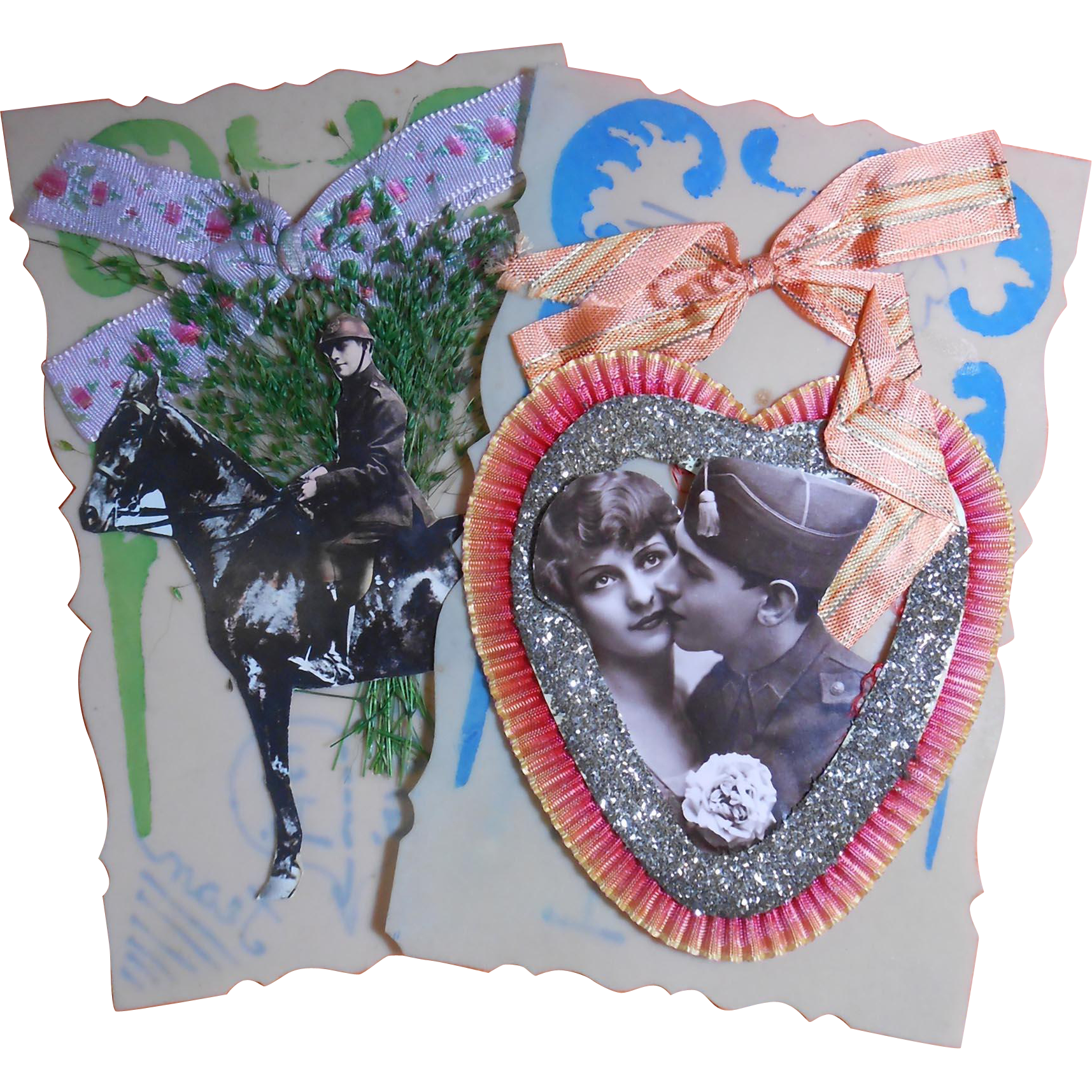 French Love Notes Two 3-D Novelty Military Postcards Ribbons Glitter Photos on Hand-Painted Plastic