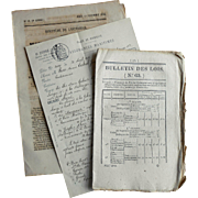 Three Pieces of Antique French Ephemera c1800s Government Decrees  Newsletter Travel Insurance